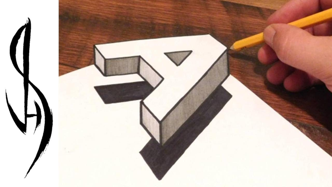 How to Draw 3D Floating Letter A - Trick Art on Paper