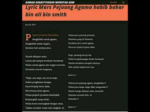 Mars Pejuang Agama Habib Bahar Bin Ali Bin Smith Full Lyric Terbaik No 1 Youtube