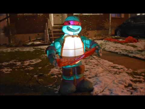 Raphael with Banner Lighted Inflatable Ninja Turtle Airblown