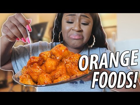 I ONLY ATE ORANGE FOOD FOR 24 HOURS CHALLENGE!