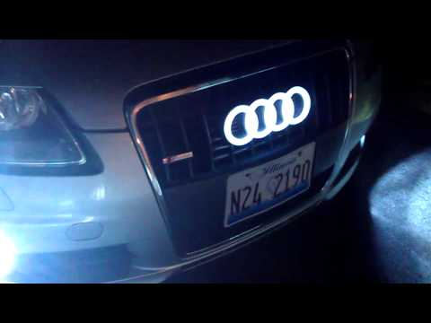 audi a6 led badge glowing rings youtube. Black Bedroom Furniture Sets. Home Design Ideas