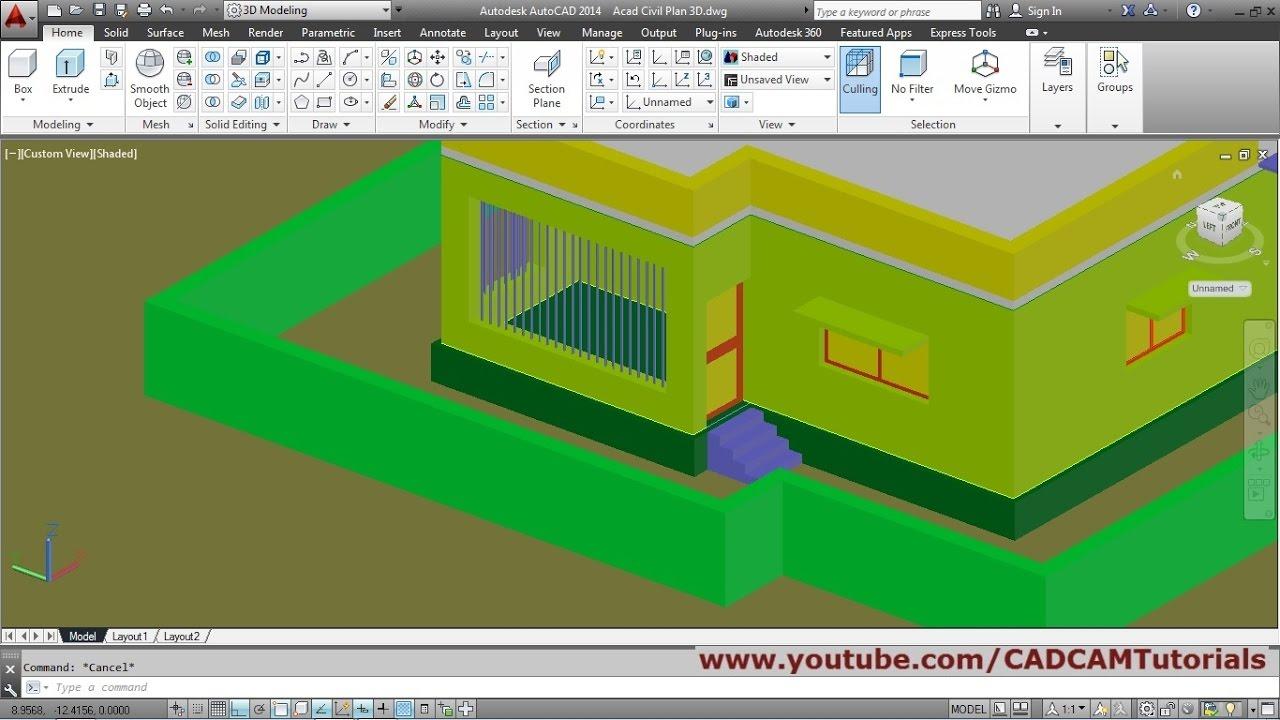 Autocad 3d House Modeling Tutorial Beginner Basic 3