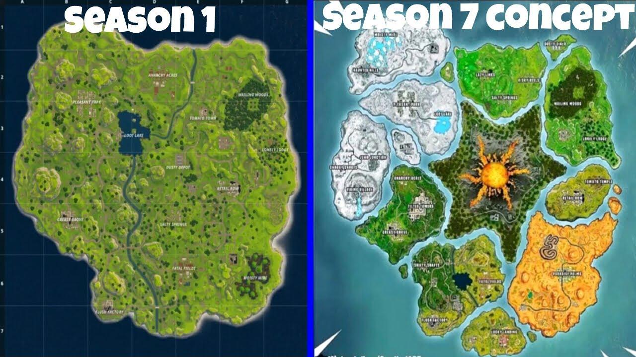 Evolution Of The Fortnite Maps Season 1 Season 7 Youtube