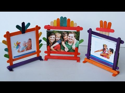 Popsicle Stick Crafts - How to make Photo Frames | 4 different types