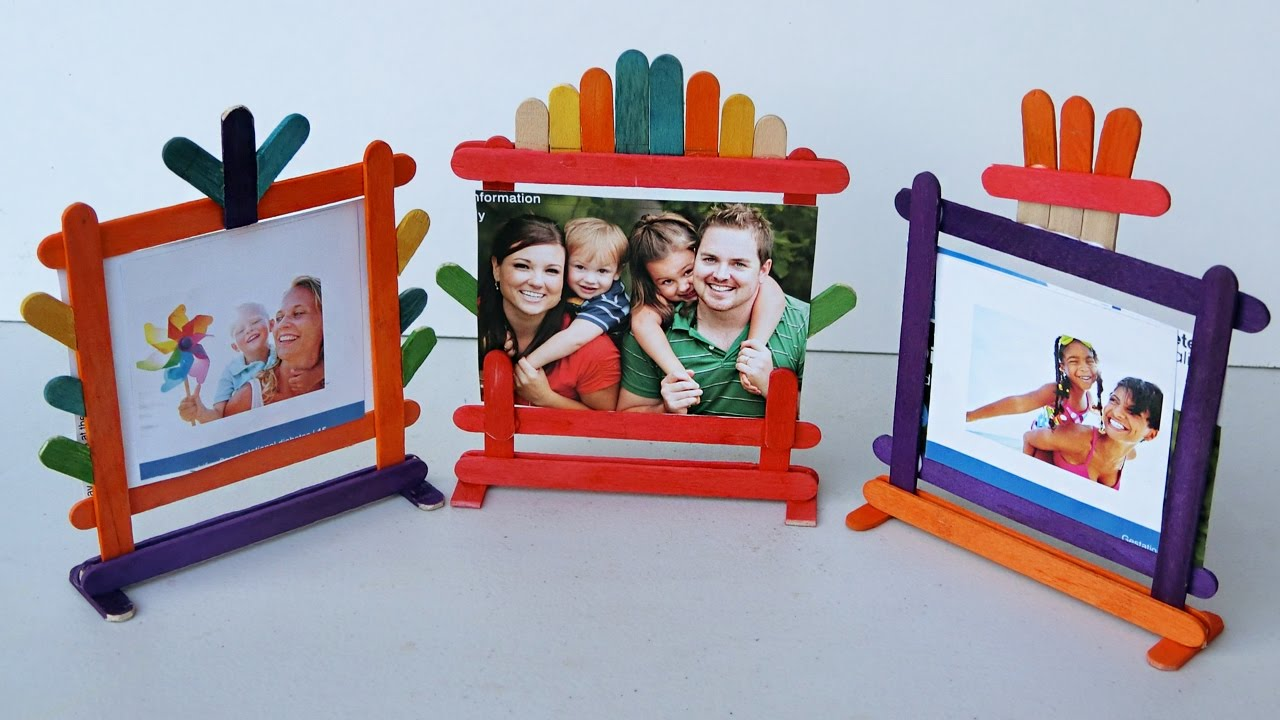 Popsicle Stick Crafts - How to make Photo Frames | 4 different types ...