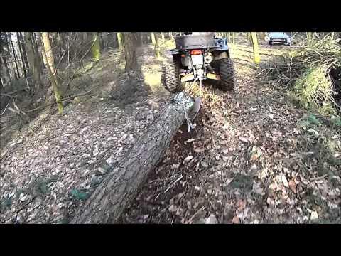 Skidding log with ATV