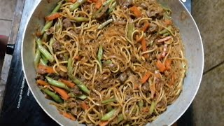 How to cook simple pancit canton with bihon