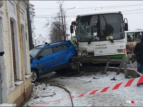 Странное ДТП в Ярославле!! Два автобуса таранят восемь машин!!! 22.01.2020 в 7.10
