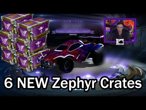 6 NEW ZEPHYR CRATE OPENING!! Painted Trails?? (Rocket League) thumbnail