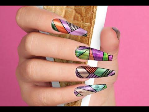 Colorful Geometric Shiny Nail Art - Nails 21