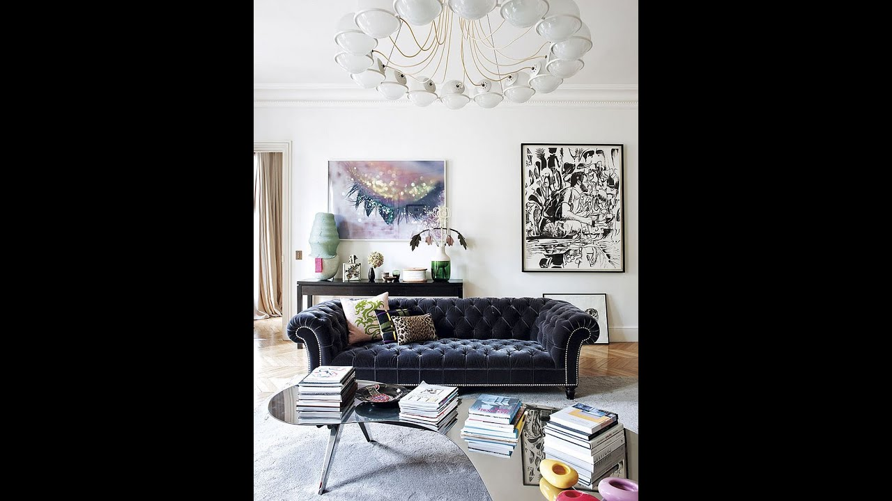 Blue Velvet Sofa with Buttons with Chandelier in Living Room - Los Angeles Home