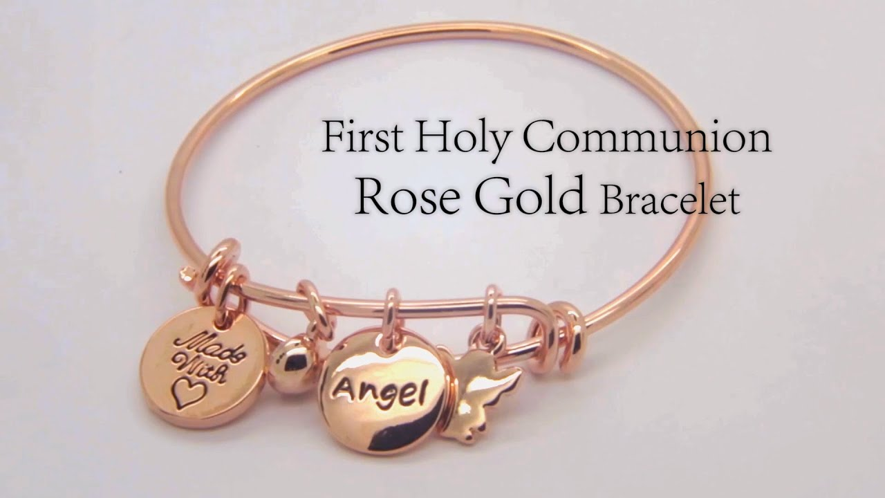 Costume Jewellery First Holy Communion Rose Gold Bracelet by