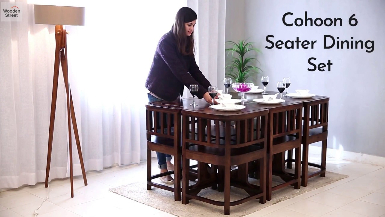 6 Seater Dining Set Cohoon In Walnut Finish Online Wooden Street