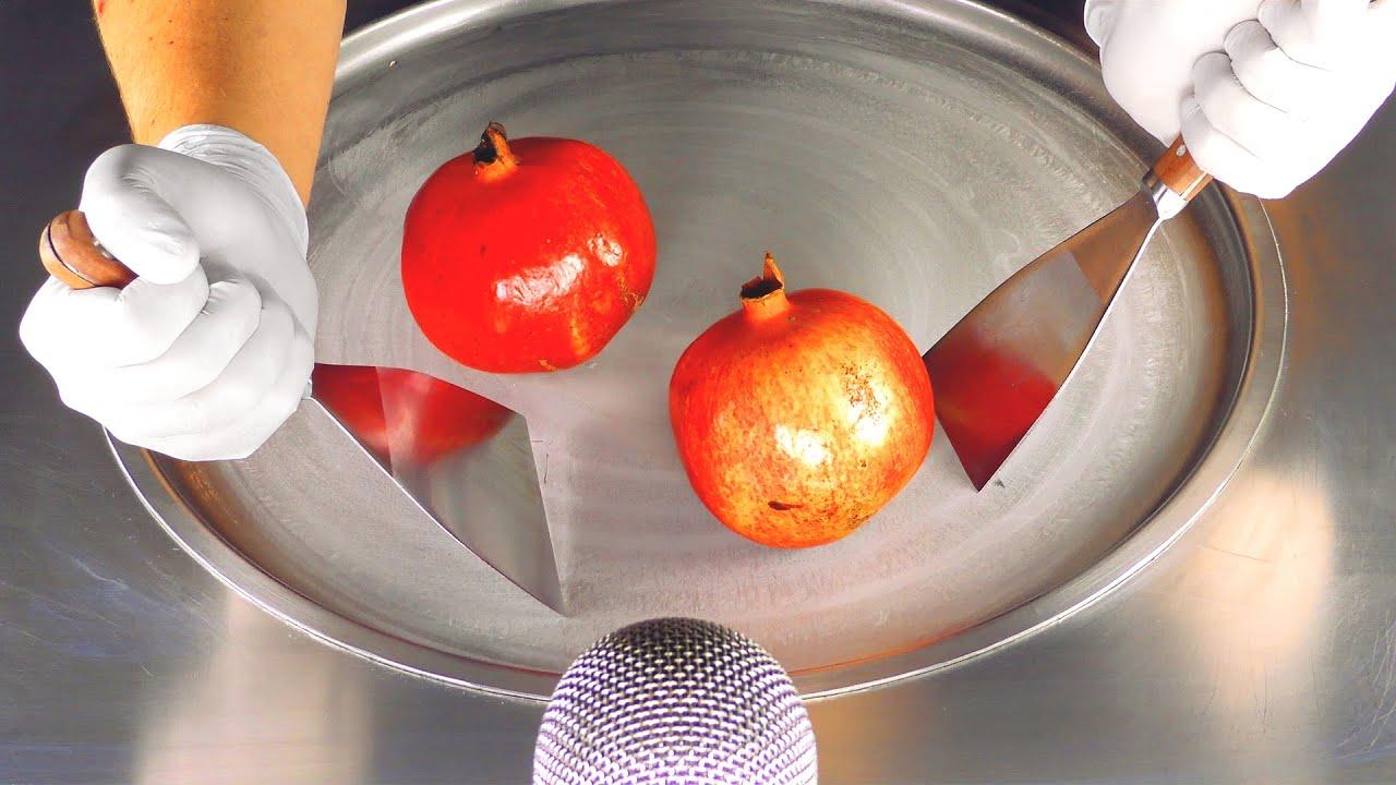 ASMR - Pomegranate Ice Cream Rolls   how to make a Pomegranate to Ice Cream - chopping & scratching