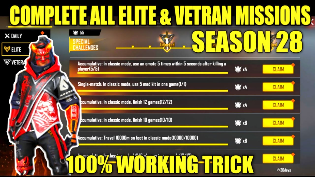 HOW TO COMPLETE ALL THE ELITE PASS MISSION EASILY AND VETERAN OF SEASON 28 ELITE PASS IN FREEFIRE