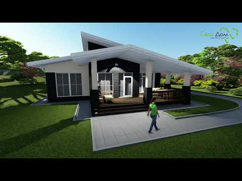 Проект одноэтажного дома Северный парк C-257 с террасой на 3 спальни