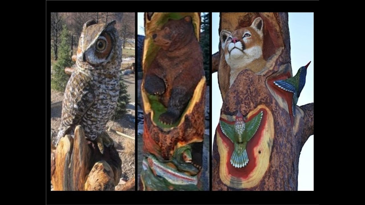 Chainsaw carving on site animal totem fox 21 news story youtube