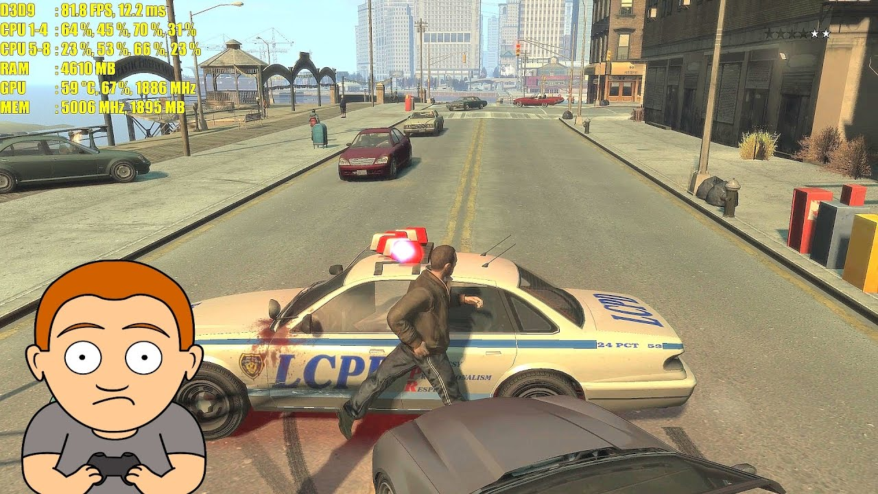 GTA 4 Pc Patch Update GTX 1080 4K Maxed Out Frame Rate Performance Test