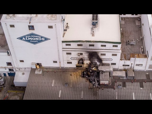 Drone video shows fire damage to Blue Diamond plant from four-alarm blaze