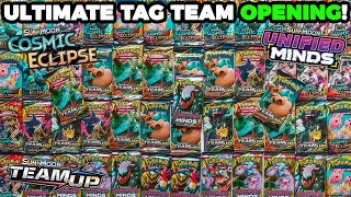 Opening Pokemon Team Up, Cosmic Eclipse \u0026 Unified Minds Booster Packs! (ULTIMATE TAG TEAM OPENING!)