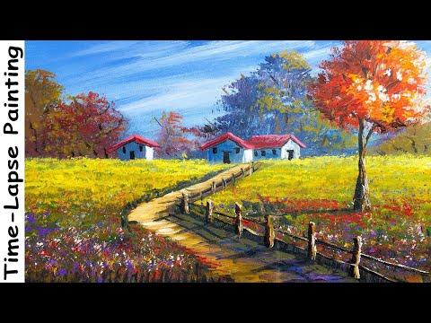 Acrylic Landscape Painting in Time-lapse | House in the Meadow | Art Candy Nepal