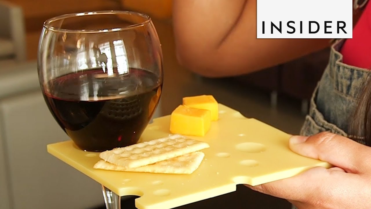 Cheese Plate Doubles as a Wine Glass Holder & Cheese Plate Doubles as a Wine Glass Holder - YouTube