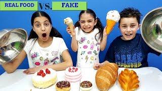 Squishy food vs real food challenge! HZHtube Kids Fun