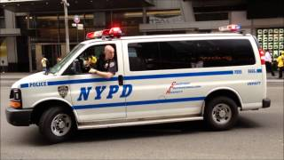 NYPD TRAFFIC STOP ON WEST 42ND STREET & BROADWAY IN THE MIDTOWN AREA OF MANHATTAN IN NYC.