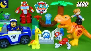 Paw Patrol Rescue the Dinosaurs T-Rex Jurassic World Lego Duplo Sets Marshall Chase Rescue Bots Toys