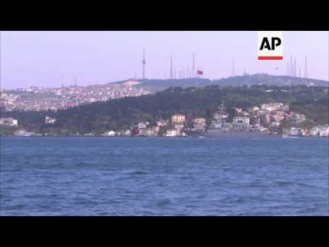 French and US warships pass through Istanbul's Bosporus Strait