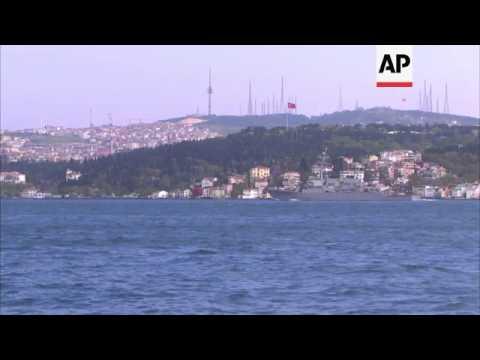 French and US warships pass through Istanbul's Bosporus Strait