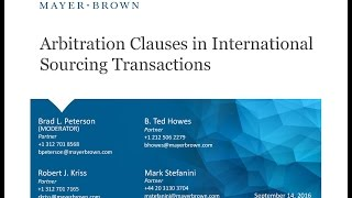 Arbitration Clauses in International Sourcing Transactions