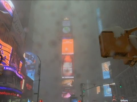 Raw: Times Square Nearly Blotted Out By Snow