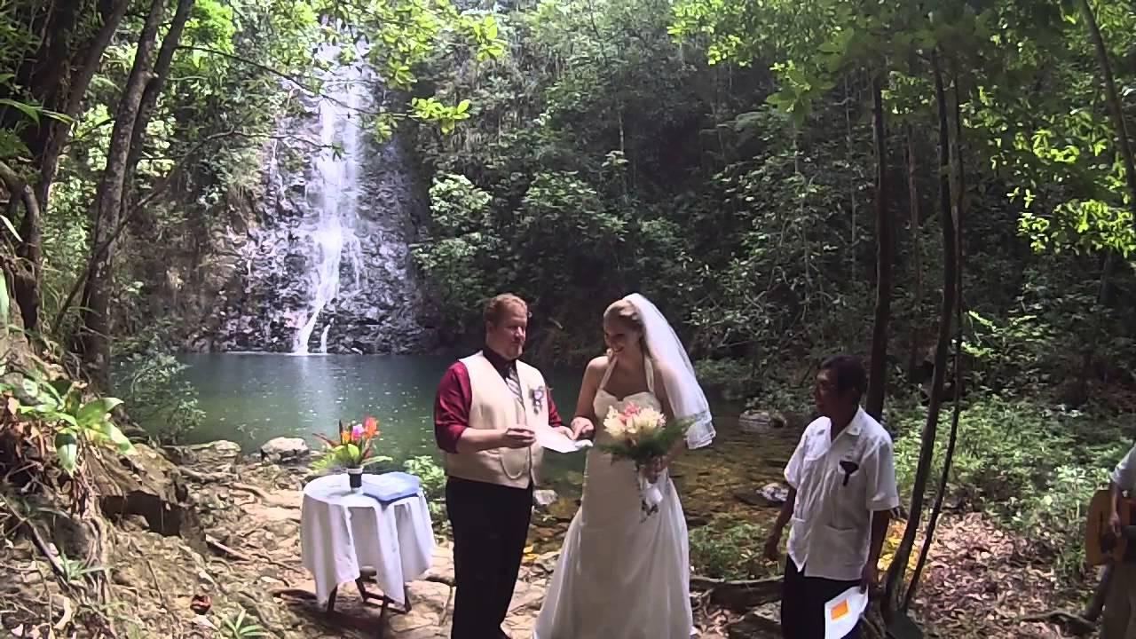 wedding full ceremony at waterfall