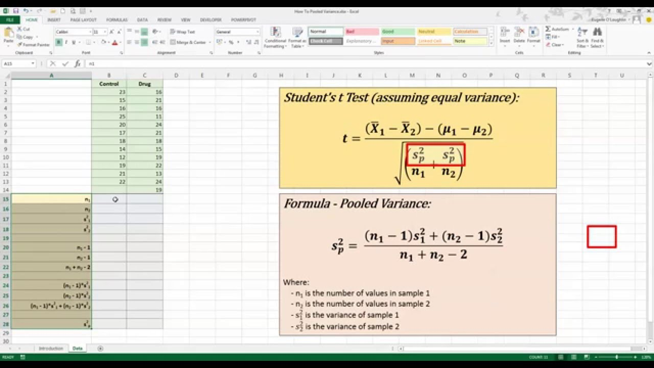 How To    Calculate Pooled Variance in Excel 2013