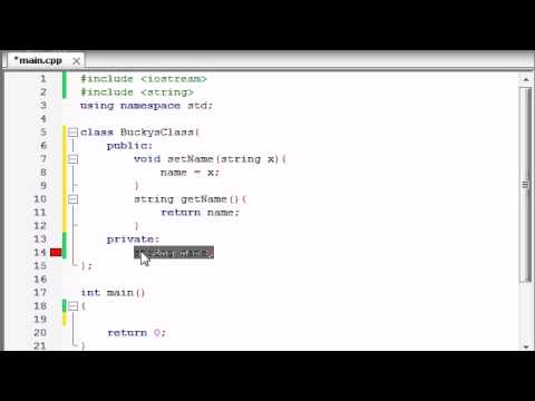 Buckys C++ Programming Tutorials - 13 - Using Variables in Classes