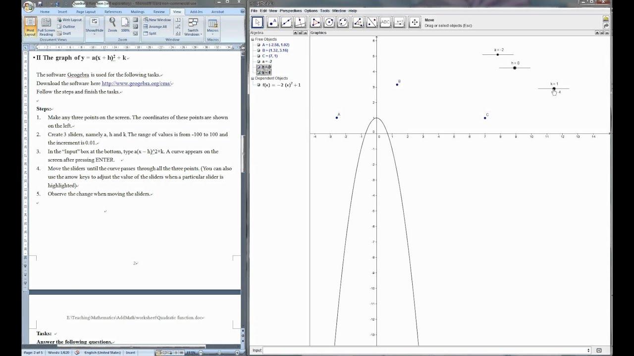 Mathematics Exploratory Worksheet Quadratic Function Y