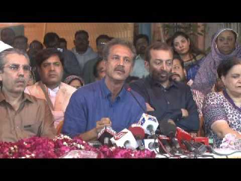 Mayor Karachi Wasim Akhter Press Conference after his release at MQM PIB Office