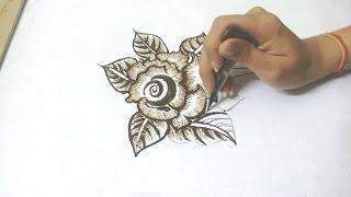 How to draw Rose flower Mehndi Design//Rashmi Crafteria//
