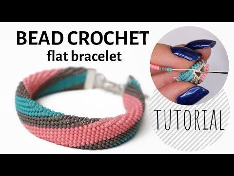 Single bead crochet flat bracelet tutorial | Bracelet tutorial | Bead crochet tutorial