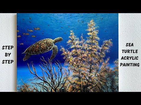 Sea Turtle Underwater Ocean STEP by STEP Acrylic Painting Tutorial (ColorByFeliks)