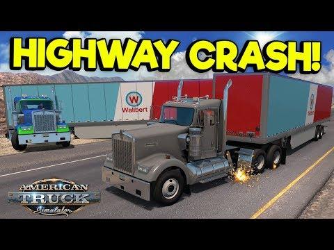 BAD DRIVERS CAUSE HUGE HIGHWAY CRASH! - American Truck Simulator Multiplayer