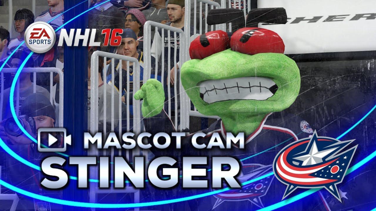 NHL 16 Mascot Cam | Stinger (Columbus Blue Jackets) - YouTube