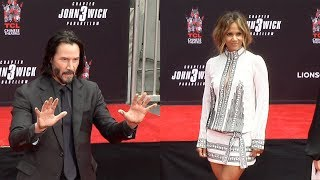 Keanu Reeves Handprint Ceremony with Halle Berry Asia Kate Dillon UNEDITED