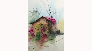 simple watercolor landscape painting by sikander singh chandigarh INDIA