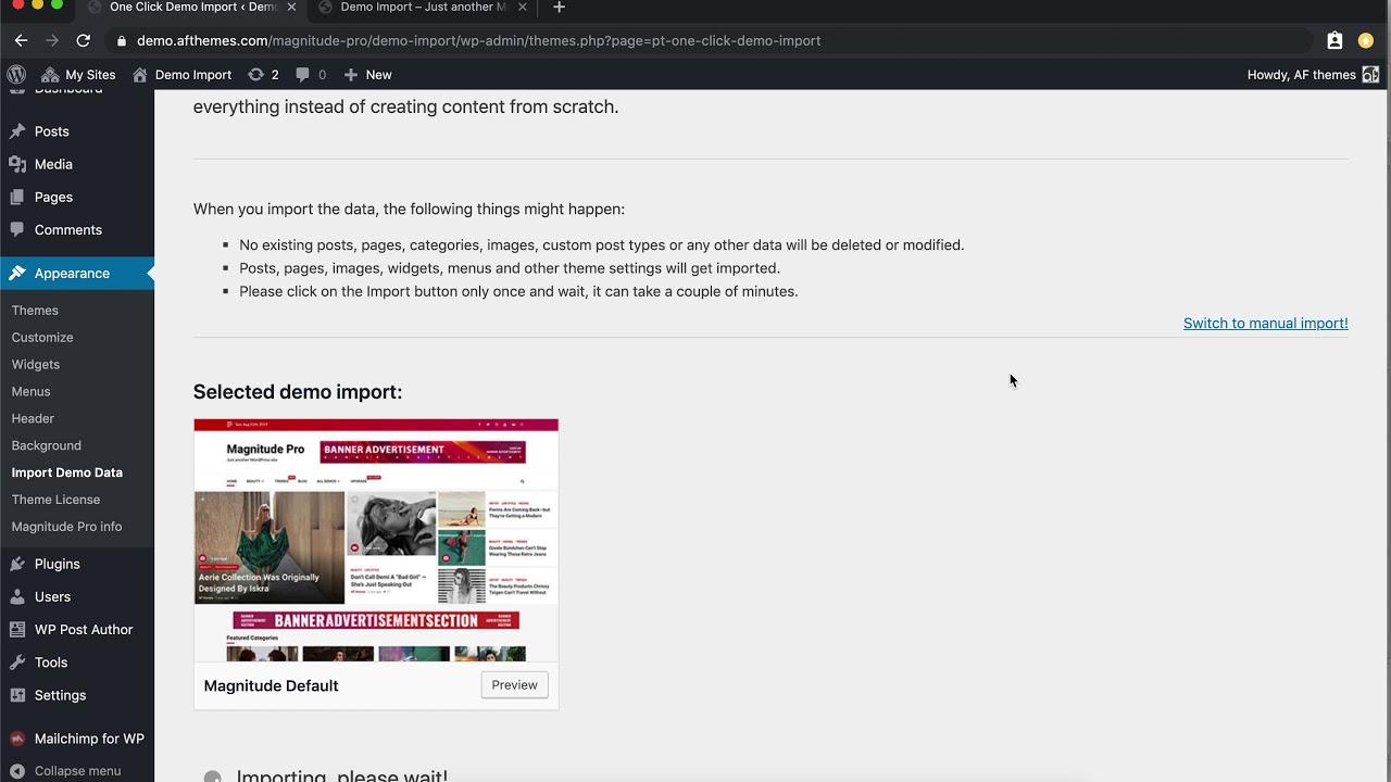 Magnitude Pro   One Click Demo Import