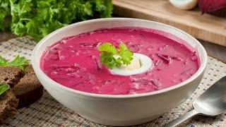 Классический холодный суп свекольник