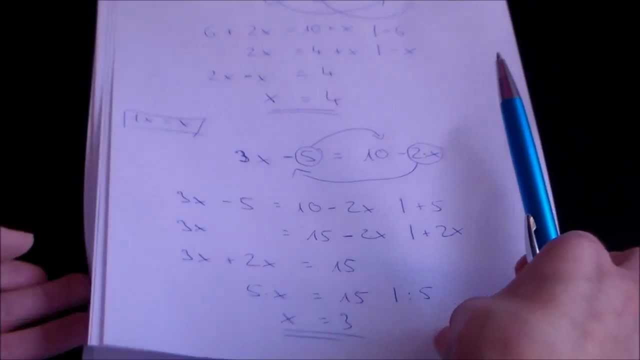 Gleichungen mit einer Unbekannten auf beiden Seiten - YouTube