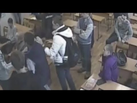 CCTV Students prank gone wrong and teenager died as teacher looks on in classroom