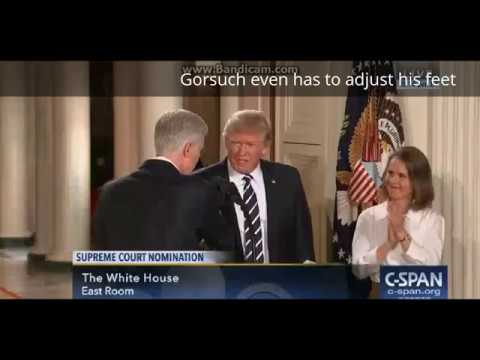 Thumbnail: Trump rudely yanks at Gorsuch's arm during handshake